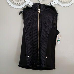 Nwt Michael Kors Faux fur hooded puffer vest